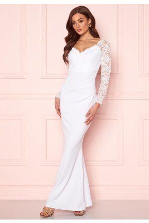 Goddiva Long Sleeve Lace Dress White XL (UK16)