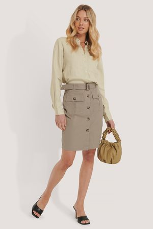 NA-KD Belted Cargo Pockets Mini Skirt - Green