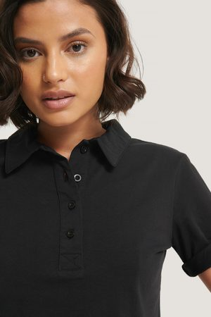 NA-KD Pique Collar Buttoned Top - Black