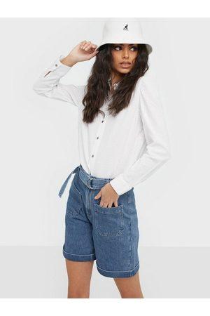 Selected Slfmartha Hw Mid Blue Denim Shorts