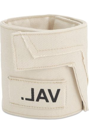 VAL. KRISTOPHER Angled Cotton Canvas Ankle Strap