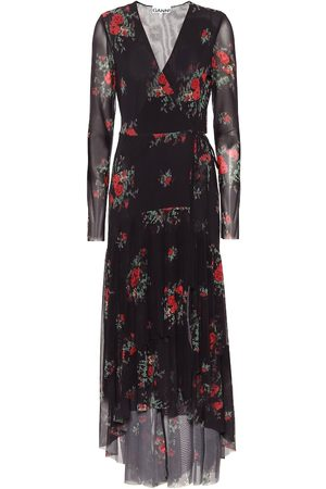 Ganni Floral mesh midi wrap dress
