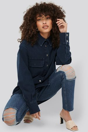 Hanna-Martine x NA-KD Front Pocket Denim Shirt - Blue