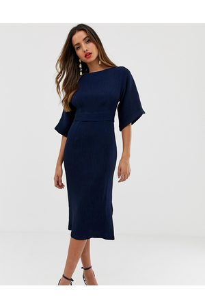 Closet Ribbed pencil dress with tie belt in navy