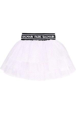 Balmain Logo tulle skirt