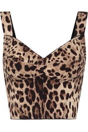 Dolce & Gabbana Naiset Hihattomat - Leopard-print stretch-silk bustier