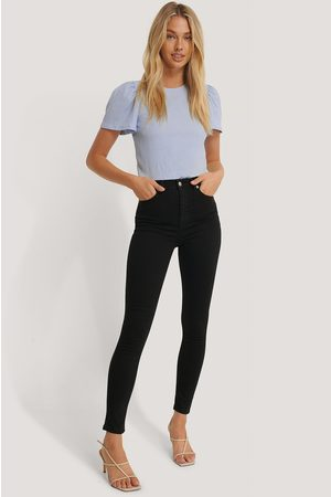 NA-KD Skinny High Waist Jeans - Black