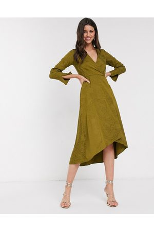 Closet Closet wrap midi dress in olive green