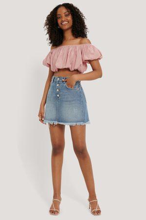 NA-KD Raw Hem Button Up Mini Skirt - Blue