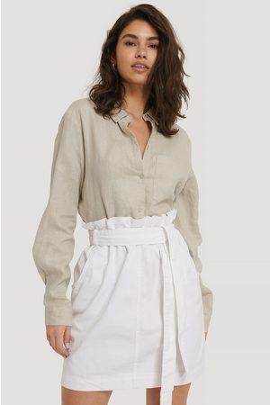 NA-KD Paper Bag Waist Denim Mini Skirt - White