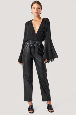 NA-KD Drawstring Pu Pants - Black