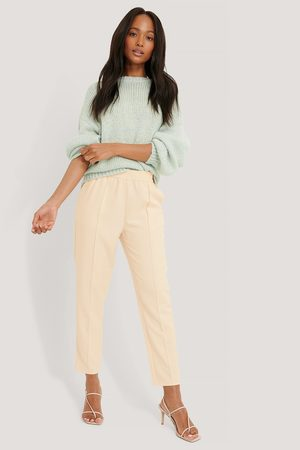 NA-KD Elastic Waist Seamline Pants - White