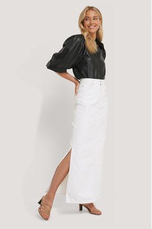 NA-KD Side Split Maxi Denim Skirt - White