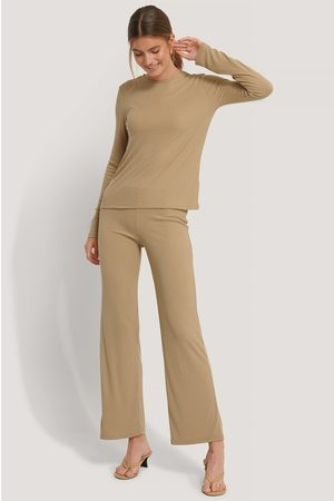 NA-KD Soft Ribbed Wide Basic Pants