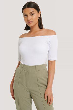 NA-KD Short Sleeve Off Shoulder Top - White