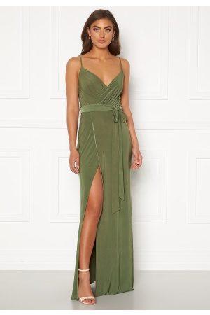 Goddiva Wrap Front Maxi Dress Olive XL (UK16)