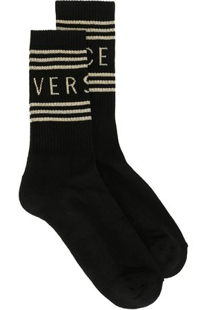VERSACE Logo stripe socks