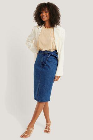 NA-KD Naiset Midihameet - Belted Midi Denim Skirt - Blue