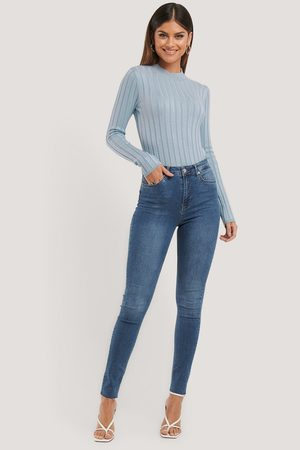 NA-KD Skinny High Waist Raw Hem Jeans Tall - Blue