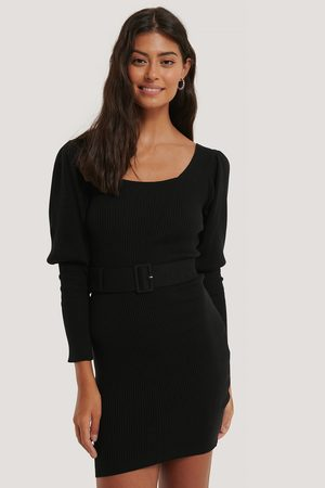 Misslisibell x NA-KD Puff Sleeve Knitted Dress - Black