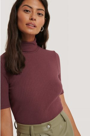 NA-KD Polo Neck Ribbed Top - Red