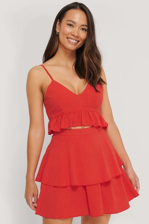 The Fashion Fraction x NA-KD Linen Mix Frill Detail Skirt - Red