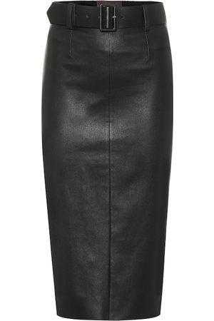 Stouls Megan high-rise leather midi skirt