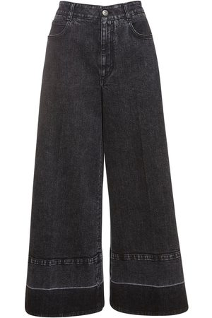Stella McCartney Naiset Leveälahkeiset - Crop Eco Denim Wide Leg Jeans