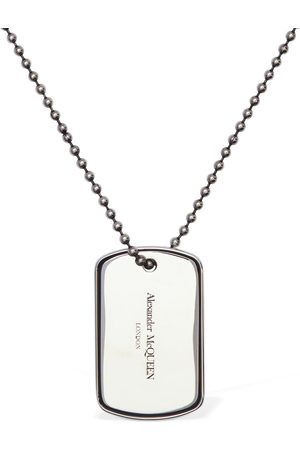 Alexander McQueen Identity Logo Plate Long Necklace