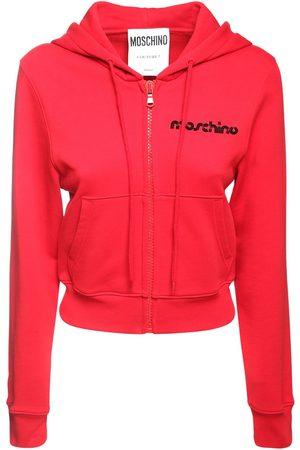 Moschino Cropped Cotton Jersey Sweatshirt