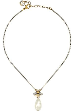 Gucci Bee drop pearl charm necklace