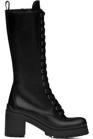 Miu Miu Naiset Ylipolvensaappaat - Military-style knee-high boots