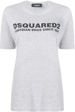 Dsquared2 Naiset T-paidat - Stud embellished logo printed T-shirt