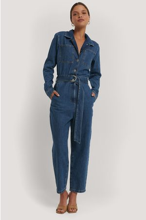 NA-KD Waist Belt Denim Jumpsuit - Blue