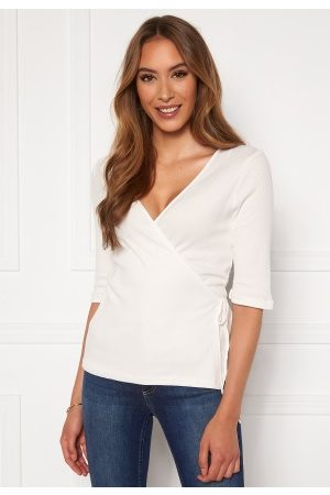 Vero Moda Hope 2/4 Rib Wrap Top Snow White XS