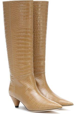 Joseph Croc-effect leather knee-high boots