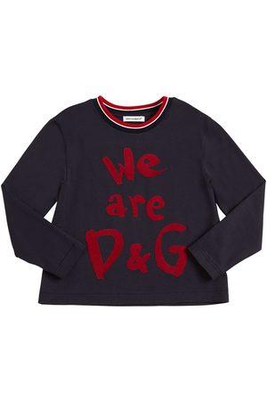 Dolce & Gabbana Logo Flocked Jersey Long Sleeve T-shirt