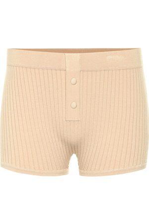 LIVE THE PROCESS Ribbed-knit shorts