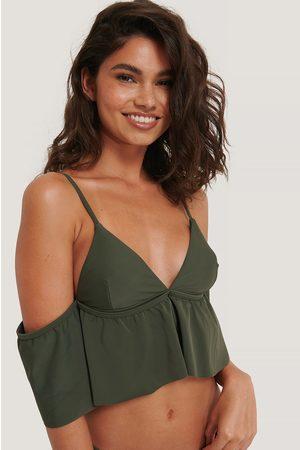 NA-KD Naiset Bikinit - Off Shoulder -Bikiniyläosa - Green