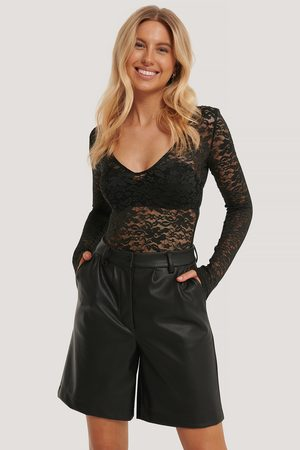NA-KD Long Sleeve Lace Body - Black