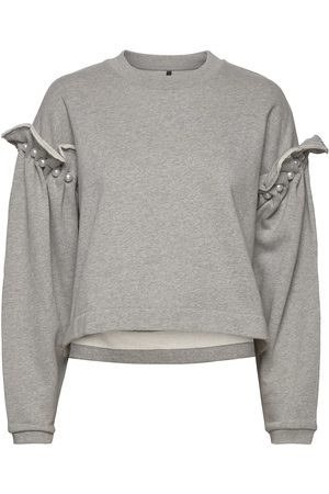 MOTHER OF PEARL Dani Cropped Jumper With Pearl Shoulder Neulepaita