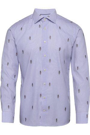 Eton Blue Striped Twill Shirt – Anubis Embroidery Paita Rento Casual