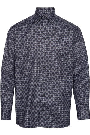 Eton Navy Medallion Print Twill Shirt Paita Bisnes