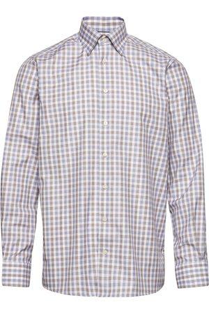 Eton Miehet Bisnes - Blue & Brown Gingham Checked Twill Shirt Paita Bisnes