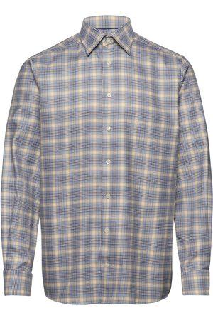 Eton Blue & Yellow Micro Weave Twill Shirt Paita Bisnes Monivärinen/Kuvioitu