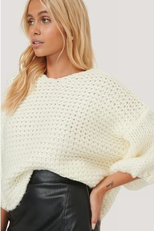 NA-KD Heavy Knitted Short Sleeve Sweater - White