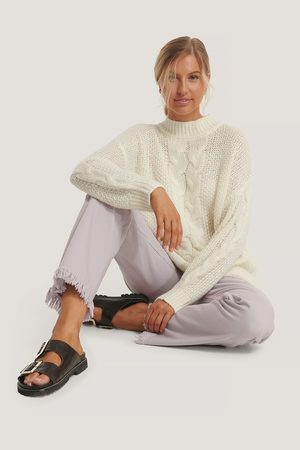 NA-KD Oversized Cable Knitted Sweater - White