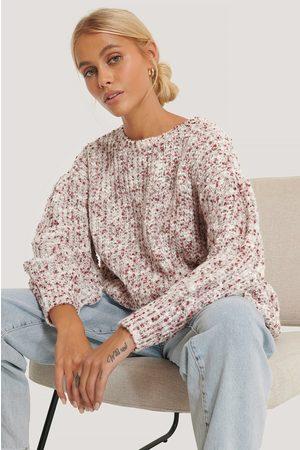 NA-KD Short Puff Sleeve Melange Sweater - Red