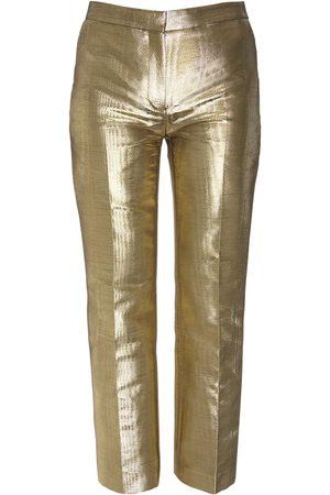Alexander McQueen Naiset Suorat - Moiré Cigarette Crop Pants