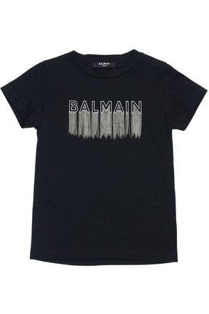 Balmain Tytöt T-paidat - Embroidered Logo Cotton Jersey T-shirt
